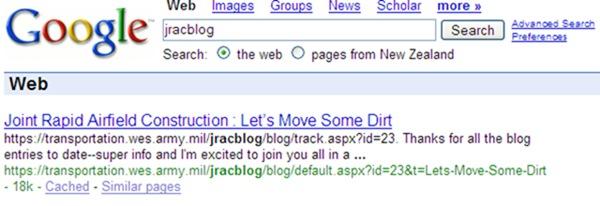 Google jracblog search